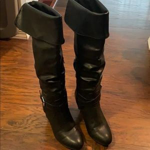 Rampage Faux Leather Heeled Knee High Boots